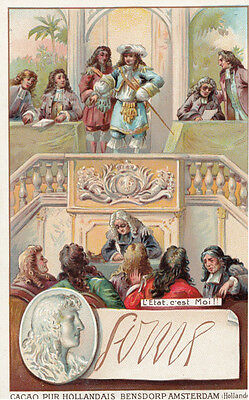 Louis XIV The Great French King Printed Signed Bendorps Postcard Old Trade Card