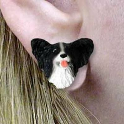 Post Style Finding PAPILLON BLK/WHITE Dog Head Post Earrings CLEARANCE SALE