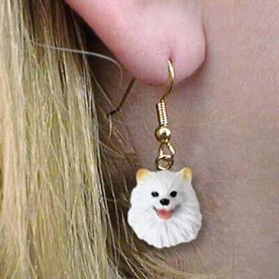 Dangle French Wire AMERICAN ESKIMO MINI Dog Head Earrings