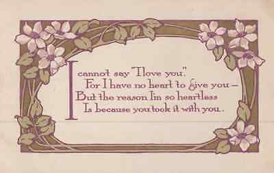 I Love You & Too Heartless To Say It To Your Face Poem Antique Postcard