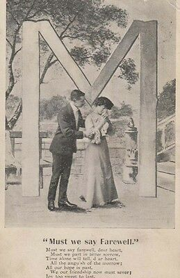 Must We Say Goodbye Farewell Capital Letter M Girl Crying Old Songcard Postcard