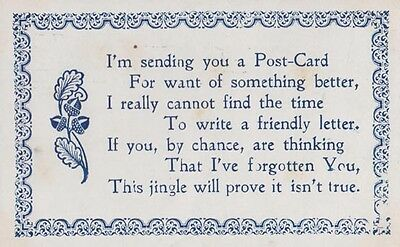 I Cant Write A Friendly Letter Remember You Comic Songcard Antique Poem Postcard