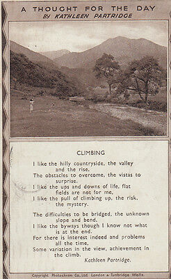 Climbing Hills Mountain Thought For The Day Kathleen Partridge Songcard Postcard