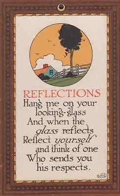 Looking Glass Mirror Reflections I Want To Be On Your Wall Poem Antique Postcard