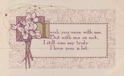 I Wish You Were With Me Lonely Poetry True Love Poem Antique Postcard