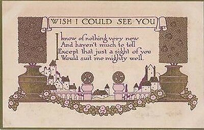 I Wish Dream I Could See You Really Like To Meet Antique Proverb Postcard