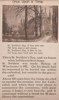 St Swithins Day Winchester Cathedral Antique Proverb Postcard