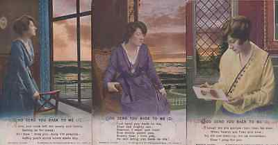 God Send You Back To Me Remembrance 3x Antique Songcard Postcard s