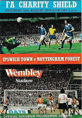 1978 FA Charity Shield Programme IPSWICH TOWN v NOTTINGHAM FOREST @Wembley