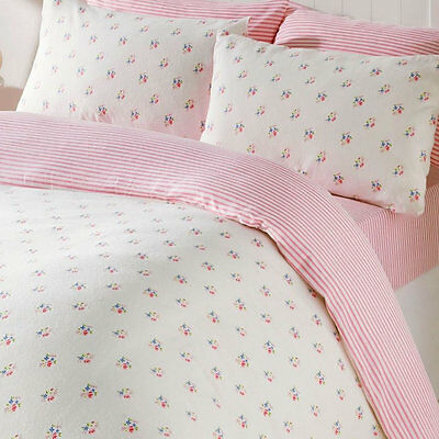 Pink Floral King Size Bedding & Pillowcases Duvet Cover Set 100% Brushed Cotton