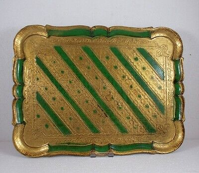 Tablett im Florentiner Stil, grün/gold, made in Italy, ca. 41 x 30 cm