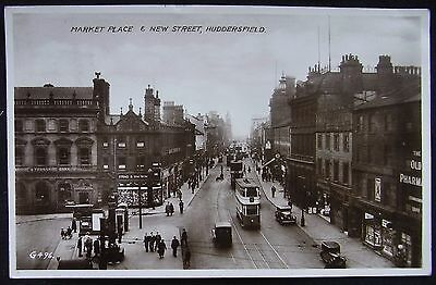 Old Real Photo Postcard - Market Place & New Street, Huddersfield Yorkshire 1938