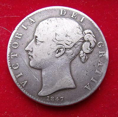 1847 Crown five shillings 5/- Queen Victoria .925 Silver British Coin