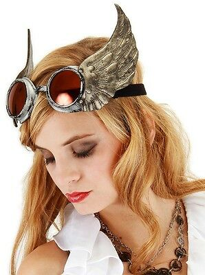 Winged Goggles Silver Gold Red Steampunk Glasses Adult Halloween Costume