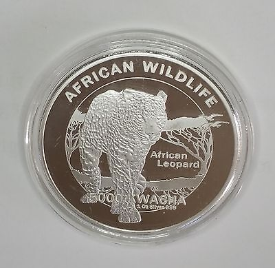 2016 African Wildlife  Zambia African Leopard 5000 Kwacha  .  Silver Plate