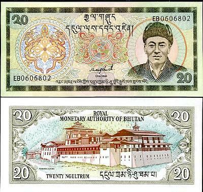 Bhutan 20 Ngultrum 1992 P.16 Unc 2 Pcs Consecutive Pair Sign 1