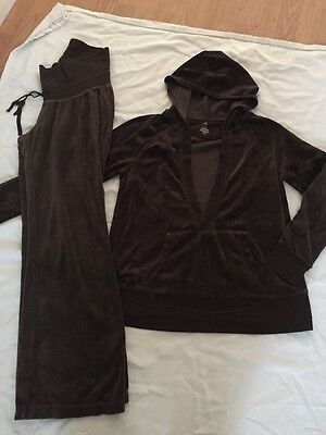 Old Navy Maternity Track Suit Brown Velour pants Hoodie Pullover S