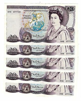 Somerset Shakespeare £20 Banknote (1981-84) B350 Clean nUNC From Consecutive Run