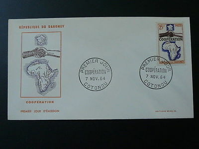 geography map of Africa hands cooperation Decaris FDC Dahomey 1964