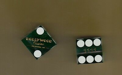 Hollywood Casino - Green Craps Table Dice - Columbus Ohio - Matched Pair - 1111
