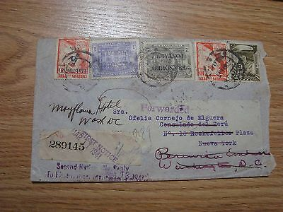 Vintage 1941 Registered Cover Peru To N.y. With Forward Many Postmarks