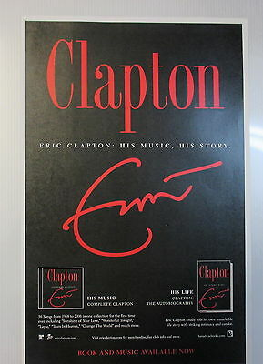 "Eric Clapton Poster advertisement poster for his book ""Clapton"" ORIGINAL !"