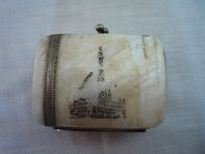Vintage Mother Of Pearl Miniature Souvenir Coin Purse Blackpool