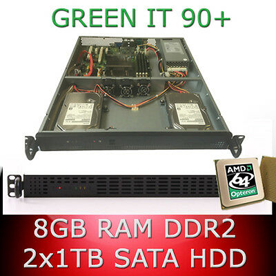1HE/1U Rack Server AMD Opteron 64bit Quad Core 2. 70GHz 8GB RAM 2 x 1TB HDD 90+