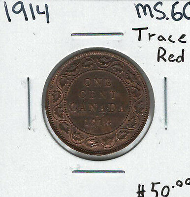 Canada 1914 1 Cent Penny MS60 Trace Red