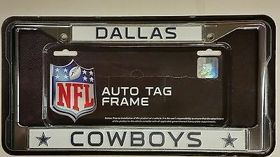 nfl dallas cowboys metal license plate frame chrome new