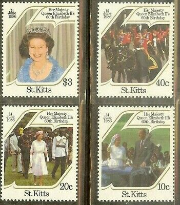ST. KITTS - 1986 - #177-180 - HM QUEEN ELIZABETH II's 60th BIRTHDAY - MNH Stamps