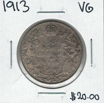 Canada 1913 Silver 50 Cents VG