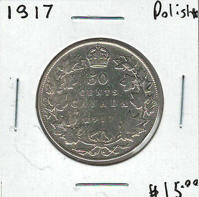 Canada 1917 Silver 50 Cents Polished