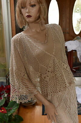 Vintage All Hand Made Crochet Cotton Crochet Jacket Natural Fit S to L