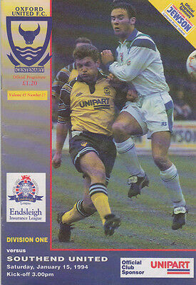 Football Programme OXFORD UNITED v SOUTHEND UNITED Jan 1994