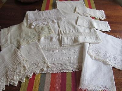 Antique Vtg Reclaimed LACE & Fabric Pieces for Doll Craft Sew WHITES Pintucking