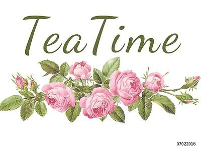 XXL RoSe TeA TiMe SiGN ShaBby WaTerSLiDe DeCAL ~FuRniTuRe SizE~