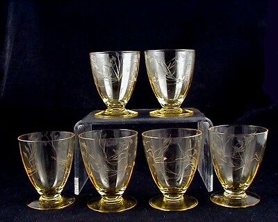 Lancaster Glass-TOPAZ Footed Juice Tumblers/Cutting- (6) Goes Well with JUBILEE!