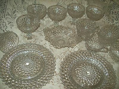 "RARE 19 pc Duncan & Miller HOBNAIL Luncheon Set 6 Plates 8.5"", Sherbet Mayo Cups"