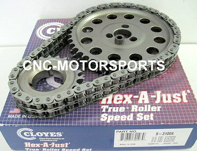 SBC SB Chevy 327 350 400 HEX-A-JUST TRUE ROLLER TIMING CHAIN KIT CLOYES 9-3100A