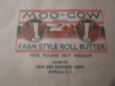 Lot of 10 Vtg MOO COW Butter Wrappers / Buffalo NY FARM STYLE ROLL BUTTER