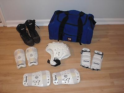 LOT Martial Arts Century Karate Tae Kwon Do Sparring Gear Youth S Bag Boots 5.5