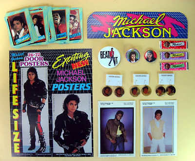 MICHAEL JACKSON 14 ITEMS 1980s EARRING-PINS-CARDS-PHOTO