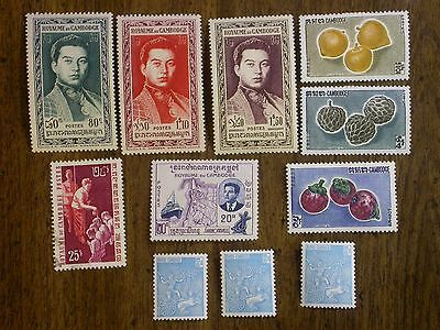 Cambodia 1950's & 60's Lot of 11 - #6, 8, 9, 78, 87, 94a, 109-111
