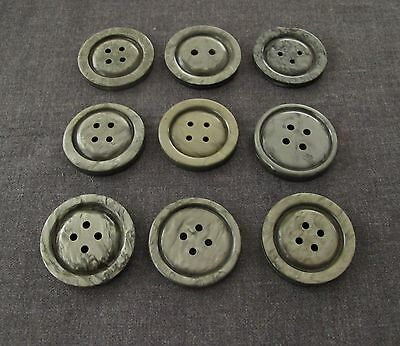9 Artisan Crafted Different Marbled Grey Galalith Large Buttons