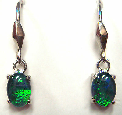 Women's Jewlery Natural Black Triplet Opal Earring With Solid Silver Set 6.58ct