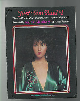 VINTAGE SHEET MUSIC 1975 MELISSA MANCHESTER Just You And I  ARISTA Records