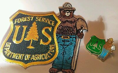 Forest Service. CLOISONNE LAPEL PIN & Smokey with Forest Service 2005  Patch.