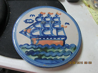 M. A. HADLEY  Sailboat  6 3/8 TRIVET OR WALL HANGING  Great Piece   L@@K
