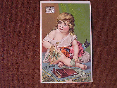 James Pyle's Pearline Soap/Little Girl with Doll in Red Dress Playing with Money